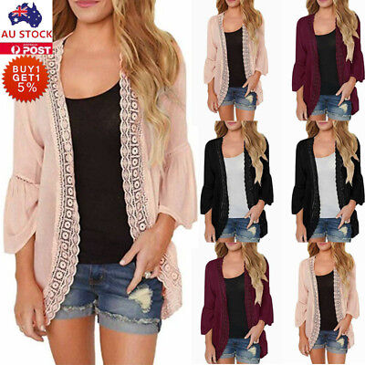 Womens Lace Cardigan Kimono Ladies Casual Holiday Beach Cover Up  Tops Blouse