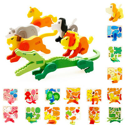 Kids Baby Wooden Animal Tiger Lion Horse Frog Puzzle Learning Educational Toy