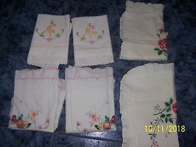 Vintage 3 Pairs Embroidered cotton Pillow Slip Shabby Chic