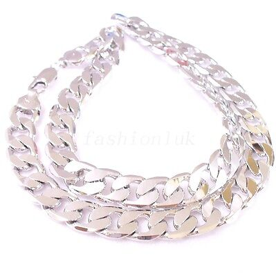 Men Vintage White Gold Plated Chunky Heavy Classic Bling Big Chain 50cm or 60cm