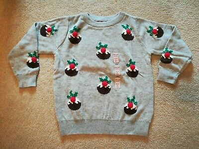M&S Christmas Jumper Grey 3D Puddings Age 18-24 Months BNWT