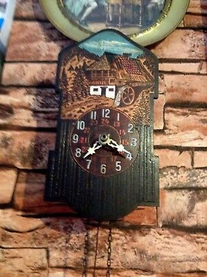 Antique black forest wall clock hand painted weight driven lot 1