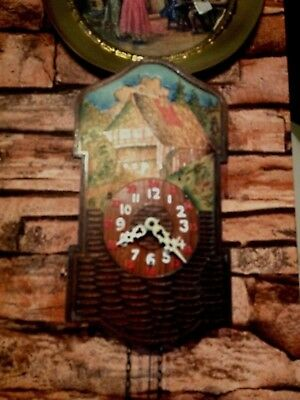 Antique black forest wall clock hand painted weight driven lot 2