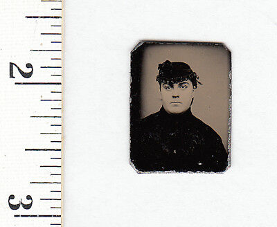Original Civil War Era Miniature Gem Tintype Photo Pretty Young Woman...#768L