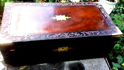 large  rosewood writing slope with working lock and key 2 inkwells lovely patina