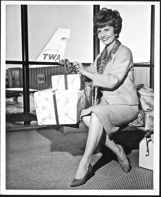 Vintage Early 60s Singer Actress Janet Blair TWA Publicity Photograph Boeing 707