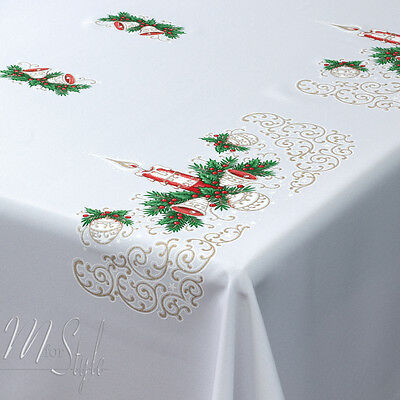 Christmas Tablecloth White Xmas CANDLE JINGLE BELLS Red Gold Green MANY SIZES