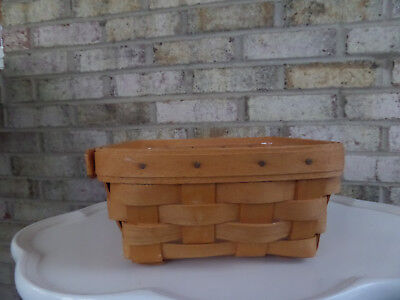"Longaberger 1995 Small 6 1/2"" Square  Basket & Plastic Liner - Great Cond."