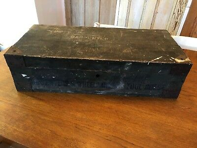 Vintage Wooden Carpenters Box Toolbox Storage Chest Trunk