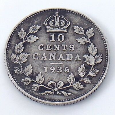 1936 Canada Ten 10 Cents Small Sterling Silver Dime Circulated Coin H563z