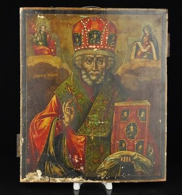 Antique 19th century Russian Wood Icon - St. Nicholas the miracle worker