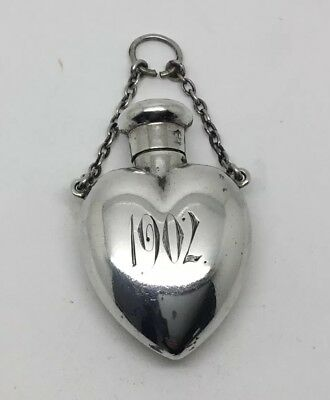 Sterling Silver Heart Shaped Chatalaine Scent Bottle 1901-1902