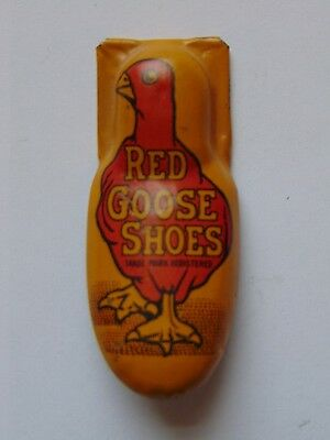 "Antique Red Goose Shoes Metal Clicker Toy Works Well By Kirchhop 1 13/16"" long"