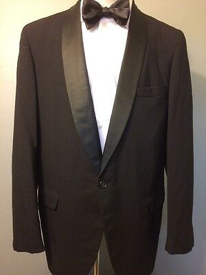 Vtg Tux Jacket Black Formal Tuxedo Mens M-L New Years Party Wedding Prom Coat