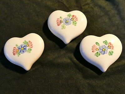 Vintage set of three hand painted ceramic hearts by Lasting Products Inc