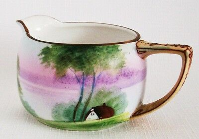 Antique Nippon Creamer with Moriage Handle, House Trees Water Scene Hand Painted