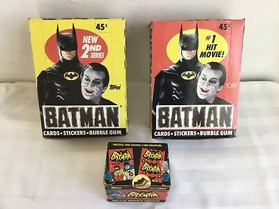 1989 Batman Movie Trading Cards 2 Boxes - Plus 1966 Trading Card Wrappers