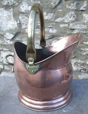 Antique large copper coal scuttle Victorian helmet shape log bucket brass handle