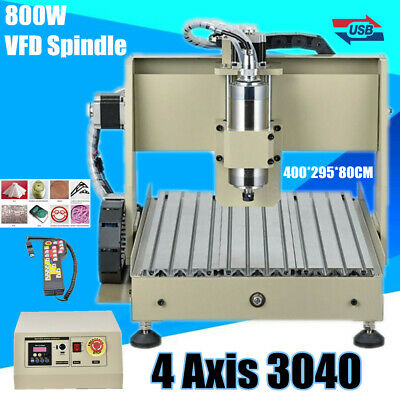 4 Axis USB 3040 Router Engraver Milling Drilling 800W VFD Watercool +Controller