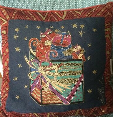 """Laurel Burch Pillow Christmas Package Cats Tapestry 18"""" Square"""