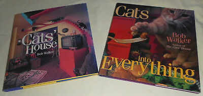 2 Cat Books by Bob Walker – The Cats' House, Cats into Everything – 1996 / 1999