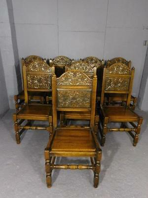STUNNING SET OF 8 SOLID CARVED OAK DINING CHAIRS in the ANTIQUE JACOBEAN MANNER