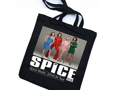 Spice Girls Spice World UK Tour 2019 - 90s Girl Pop Band - Black Tote Bag