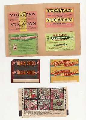 Lot of 9 Old Vintage Chewing Gum Wrappers Yucatan Wrigleys Beechnut More