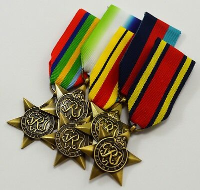 5 WW2 Campaign Medals, Ribbons. 1939-1945, Africa, Burma, Pacific, Atlantic Star