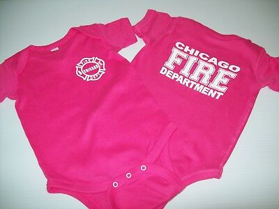 Chicago Fire Dept Infant Baby Bodysuit Hot Pink