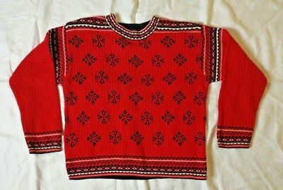 Hanna Andersson Sweater Size 150 (10-12) Red & Black Nordic Snowflake Pullover