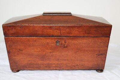 Georgian Mahogany Sarcophagus Tea Caddy With Mixing Bowl And 2 Compartments