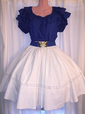 Square Dance- Malco Modes- Ladies Royal Blue Top & White Skirt- Large