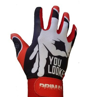 """Primal Baseball C1COOP """"YOU LOOKED"""" RED Baseball Batting Gloves Size Adult Small"""