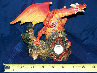 """MYTHS & LEGENDS - RED DRAGON WITH CASTLE (6.5""""H x 8.5""""W)"""