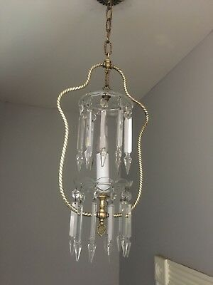 Rare Antique 19th Century Crystal and Bronze Chandelier