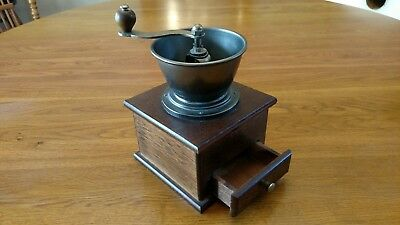 Antique Vintage Solid Brass Coffee Grinder Mill Wood Handle