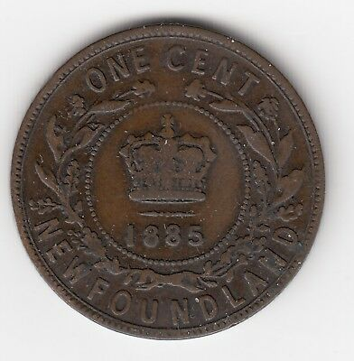 1885 Newfoundland Large Cent Victorian Coin