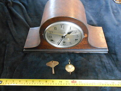 "Nice ""Napolean Hat"" Mantle Clock with Westminster Chime : with key and pendulum"