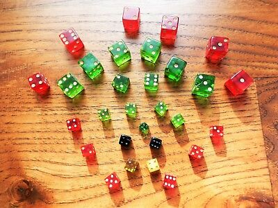 "Vintage Lot of 29 Green Red Yellow Black Translucent Dice Mini 1/4"", 3/8"", 1/2"""