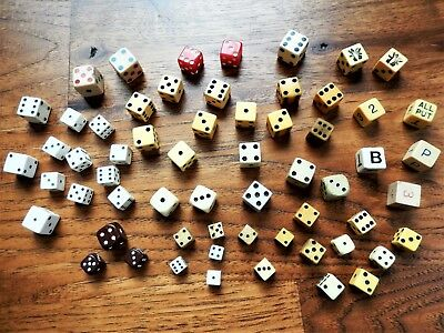 "Vintage 60 Dice 3/8"" to 3/4"" French Ivory Bakelite Bone Butterscotch Tri Color"