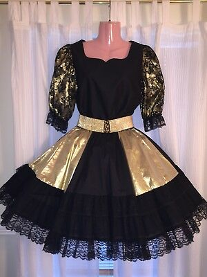 Square Dance- Malco Modes- Ladies Gold & Black Lace Top &Skirt- Small