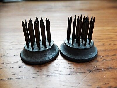 "Two Vintage Antique Metal Flower Frogs Plant Pin Needle Spikes Small 1"" Diameter"