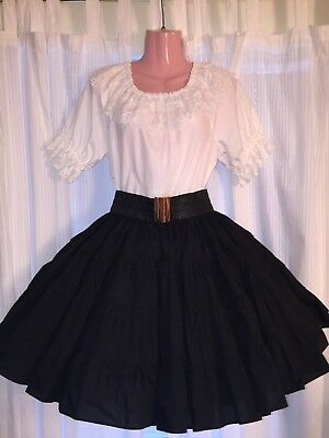 Square Dance- Malco Modes- Ladies Large White Top & Black Medium Skirt W/ Belt