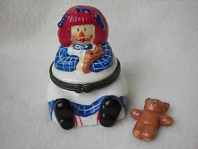 Porcelain Raggedy Ann Hinged Trinket Box with Removable Teddy Bear
