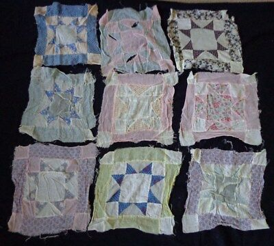 NINE Thin Gauzy Vintage 1940's 1950's Patchwork Star Hand Sewn Quilt Squares