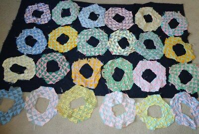 Lot of 24 Vintage 1940's 1950's FEEDSACK Triangles Hand Sewn Quilt Squares
