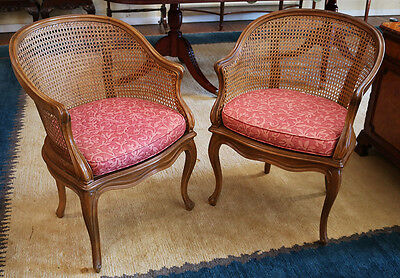 Superb Pair Carved French Louis XV Cane Lounge Club Parlor Chairs MINT Condition