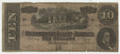 Civil War Confederate Richmond $10 Dollar Note 1864 Hand Signed