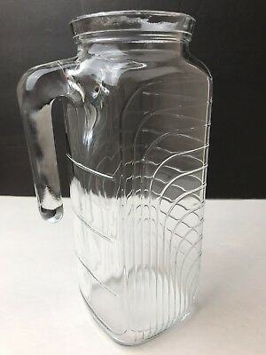 "Covetro Art Deco Heavy Clear Glass Pitcher w/Handle ~Made in Italy~Vintage 9""T"